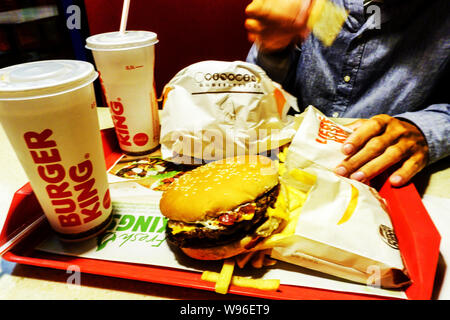 Burger King menu on tray - Stock Photo