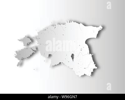 Map of Estonia with paper cut effect. Hand made. Rivers and lakes are shown. Please look at my other images of cartographic series - they are all very - Stock Photo