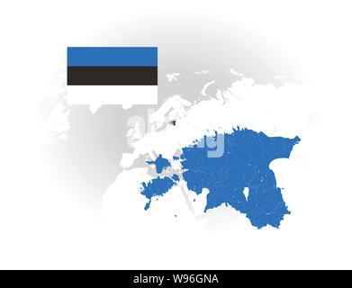 Map of Estonia with rivers and lakes, national flag of Estonia and world map as background. Please look at my other images of cartographic series - th - Stock Photo