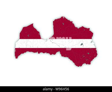 Map of Latvia with rivers and lakes in colors of Latvian national flag. Please look at my other images of cartographic series - they are all very deta - Stock Photo