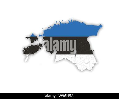 Map of Estonia with rivers and lakes in colors of the Estonian national flag. Please look at my other images of cartographic series - they are all ver - Stock Photo