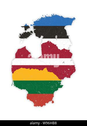 Map of Baltic states with rivers and lakes in colors of the national flags of Baltic states. Please look at my other images of cartographic series - t - Stock Photo