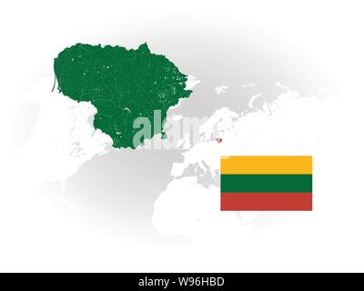Map of Lithuania with rivers and lakes, national flag of Lithuania and world map as background. Please look at my other images of cartographic series - Stock Photo