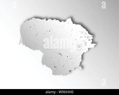 Map of Lithuania with paper cut effect. Hand made. Rivers and lakes are shown. Please look at my other images of cartographic series - they are all ve - Stock Photo