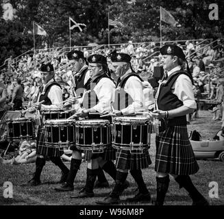 Fergus, Ontario, Canada - 08 11 2018: Drummers of the Durham Regional Police Pipes and Drums band participating in the Pipe Band contest held by Piper - Stock Photo