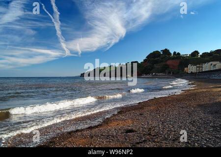 UK,Devon,Dawlish,Beach,Seafront and Coastline on a late Summer Evening - Stock Photo