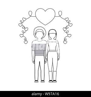 young couple lovers with hearts decoration vector illustration design - Stock Photo
