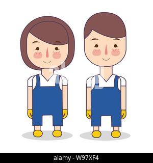 cleaning service uniform. Illustration of staff wearing maintenance blue clothes and yellow gloves. Hotel housekeeper. Illustration of people - Stock Photo