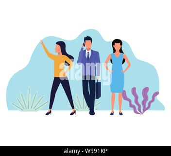 Business people working faceless cartoons - Stock Photo