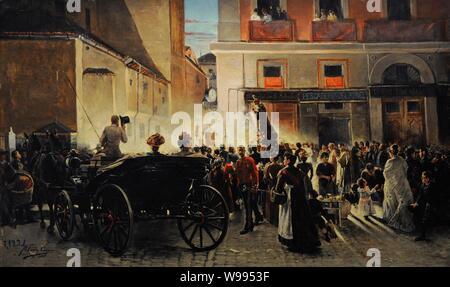 Manuel Fernández Carpio (1853-1929). Pintor español. Procesión de San Antonio en Madrid, 1893. Museo de Historia. Madrid. España. (En depósito, cedido por el Museo Nacional del Prado, Madrid) . - Stock Photo