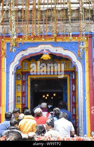 Holy Hindu Temple of Lord Shri Kedarnath Shankar Bholenath Temple 2019 view in Chamoli/Rudraprayag District , Uttrakhand , India , Asia - Stock Photo