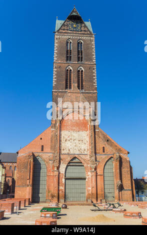 Remains of the St. Mary's church in Wismar, Germany - Stock Photo