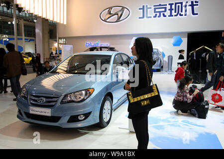 A Hyundai car is seen on display during an auto show in Beijing, China, April 24, 2010.   Hyundai Motor Co. raised its China sales forecast for this y - Stock Photo