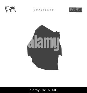 Swaziland Blank Vector Map Isolated on White Background. High-Detailed Black Silhouette Map of Swaziland. - Stock Photo