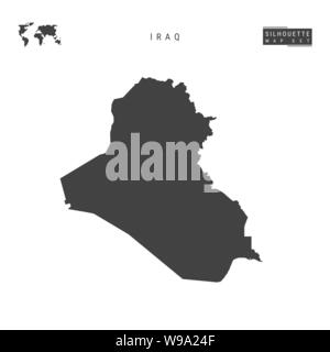 Iraq Blank Vector Map Isolated on White Background. High-Detailed Black Silhouette Map of Iraq. - Stock Photo