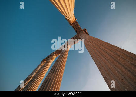 Temple of Apollo on sunset in Side, Turkey. - Stock Photo