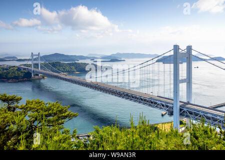 Seto Ohashi Bridge from Mt.Washu lookout in Kurashiki City, Okayama, Japan - Stock Photo