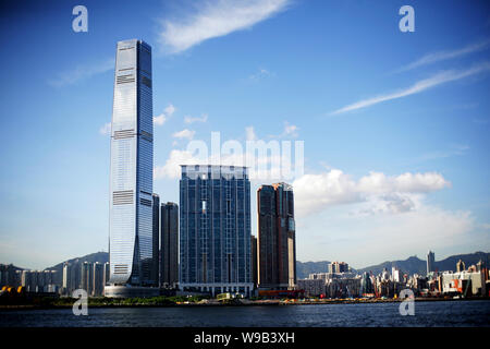 View of the International Commerce Centre (ICC) and other skyscrapers and high-rise buildings in Kowloon, Hong Kong, China, 10 July 2010. - Stock Photo