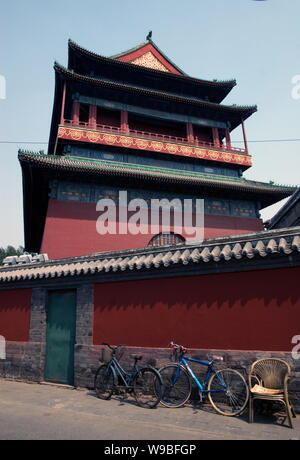 --FILE-- View of the Drum Tower in Beijing, China, June 25, 2009.   More recently, those who reside in the neighborhood known as Gulou (Drum and Bell - Stock Photo
