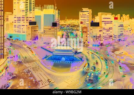 Traffic of Seoul City Skyline at Namdaemun Gate,South Korea.
