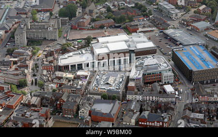 aerial view of a new Time Square development on Bridge Street, Warrington town centre, Cheshire - Stock Photo