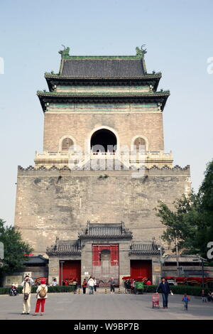 --FILE-- View of the Bell Tower in Beijing, China, October 6, 2009.   More recently, those who reside in the neighborhood known as Gulou (Drum and Bel - Stock Photo