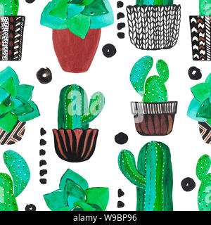 Watercolor illustration of decorative green cacti in pots seamless pattern. Hand painted floral design. Digital paper - Stock Photo