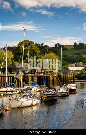 UK, England, Devon, Totnes, leisure boats moored in sunshine on River Dart beside Vire Island - Stock Photo