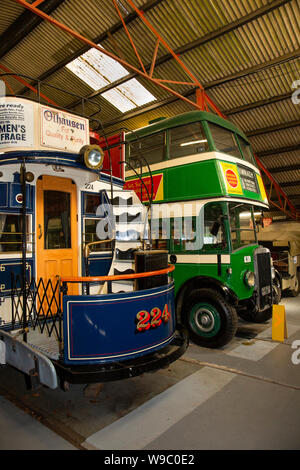 Ireland, Leinster, Fingal, Howth, Castle Demesne, National Transport Museum of Ireland, Old Dublin tram and Leyland double decker bus - first exhibit