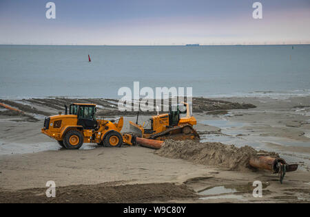 restoration on sand beach, norderney holiday - Stock Photo