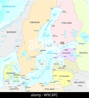 map of the baltic sea the marginal sea of the atlantic ocean - Stock Photo
