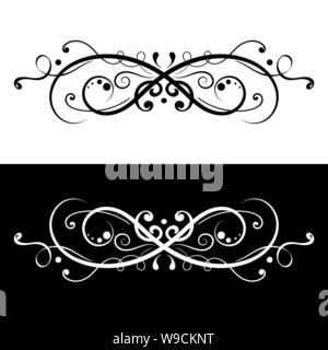 Ornamental dividers. Black and white decorative filigree design elements - Stock Photo