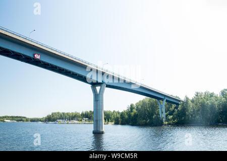 Luukkaansalmi bridge in Lappeenranta, Finland. View from the lake Saimaa. - Stock Photo