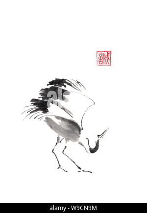 Dancing crane Japanese style original sumi-e ink painting. Hieroglyph featured means sincerity. Great wall art, greeting cards, or texture design. - Stock Photo