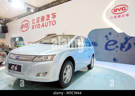 A BYD e6 electric car is seen on display at the 13th Shanghai International Automobile Industry Exhibition, known as Auto Shanghai 2009, in Shanghai, - Stock Photo