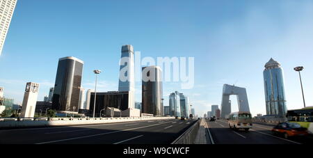 Panoramic view of CDB (Central Business District) with the China World Trade Center towers and the new CCTV Tower in Beijing, China, 11 July 2008. - Stock Photo