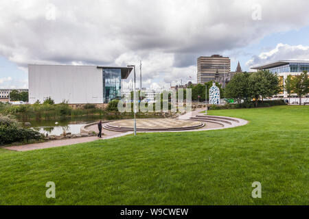 The MIMA building and the Bottle of Notes statue in Middlesbrough,England,UK - Stock Photo