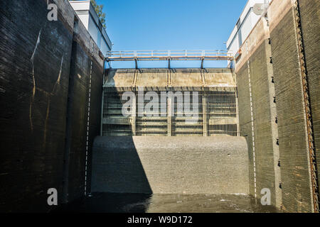 Lappeenranta, Finland - August 7, 2019: Lock on the Saimaa Canal at Malkia. View from water. - Stock Photo