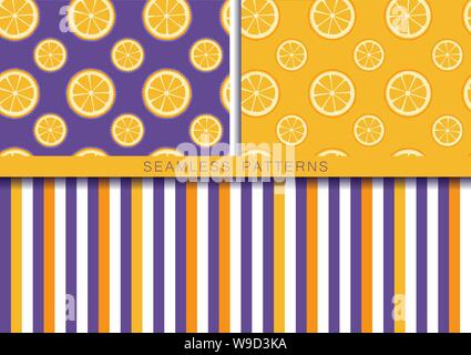 Set of vector seamless patterns with round orange slices. Endless texture. Wrapping paper, packaging, fabric print. Cover for planner, notebook - Stock Photo