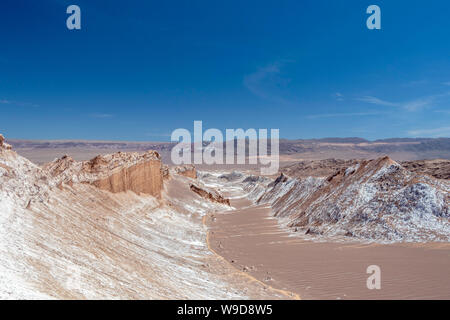 Barren landscape with sand dunes and geological formations of the Valley of the Moon (Valle de la Luna) in the Atacama Desert in Northern Chile - Stock Photo