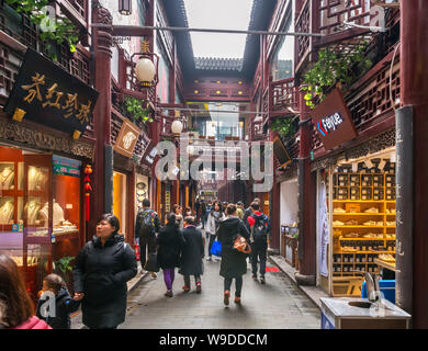 Shops in the Yuyuan Bazaar, Old City, Shanghai, China - Stock Photo