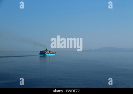 Container ship Maersk Karlskrona departing the Suez Canal and proceeding into the Red Sea. - Stock Photo