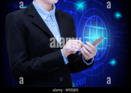 Asian business woman use smartphone technology for internet of things with futuristic innovation background. - Stock Photo