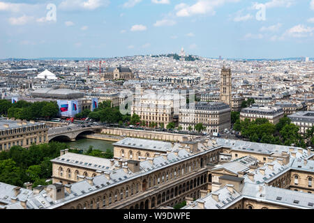 Aerial view looking north toward Montmartre from viewing platform on South Tower of Notre-Dame Cathedral, Ile de la Cité, Paris, France - Stock Photo