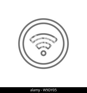 WiFi signal line icon. Isolated on white background - Stock Photo