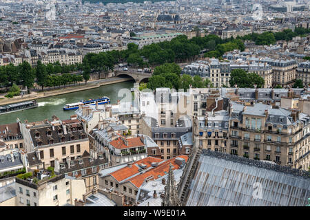 Aerial view looking north east over River Seine from viewing platform on South Tower of Notre-Dame Cathedral, Ile de la Cité, Paris, France - Stock Photo