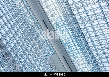 Abstract close up of modern interior architectural metal structure pattern background. - Stock Photo