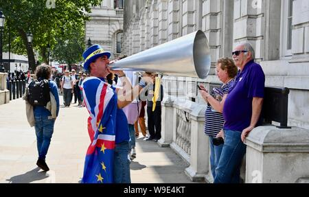 Steve Bray with his megaphone, SODEM Stop Brexit Protest, The Cabinet Office, Whitehall, London. UK - Stock Photo