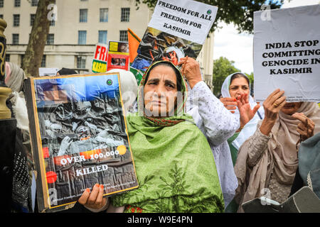 Westminster, London, UK, 13th Aug 2019. Protesters from pro Kashmir organisations rally on Whitehall in Westminster against alleged atrocities against minorities in the region. Credit: Imageplotter/Alamy Live News - Stock Photo