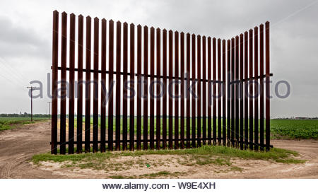 A single section of the border wall in Los Indios not far from the International bridge in Los Indios, TX - Stock Photo